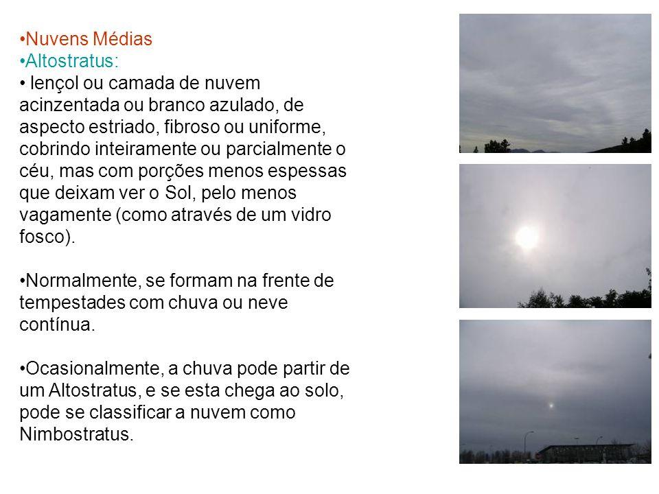 Nuvens Médias Altostratus: