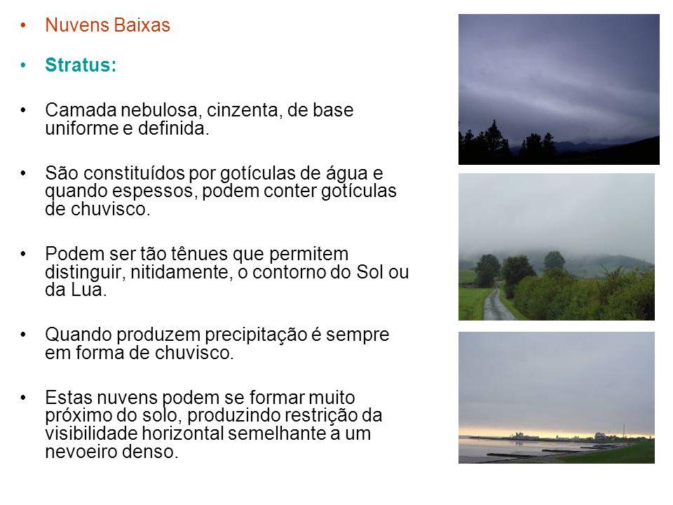 Nuvens Baixas Stratus: Camada nebulosa, cinzenta, de base uniforme e definida.