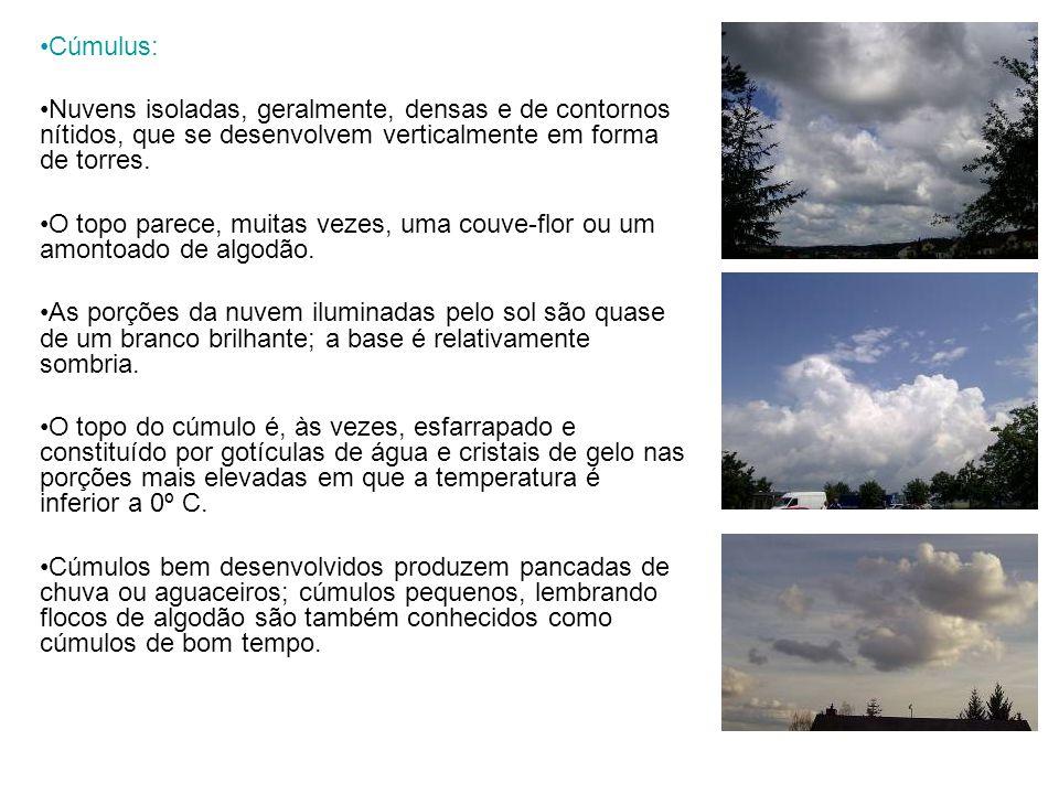 Cúmulus: Nuvens isoladas, geralmente, densas e de contornos nítidos, que se desenvolvem verticalmente em forma de torres.
