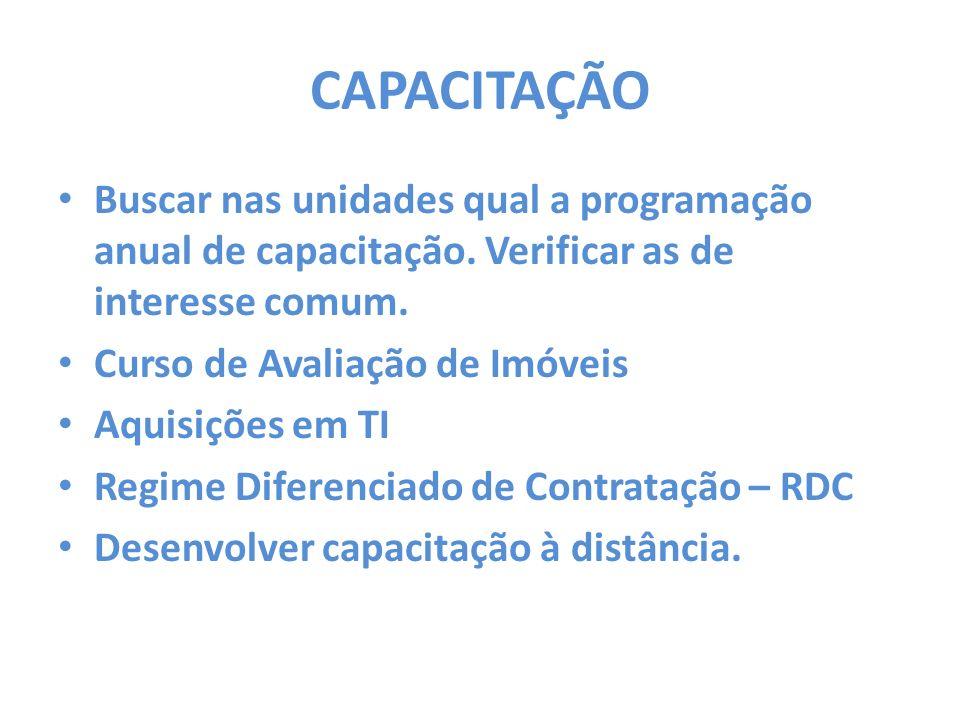 CAPACITAÇÃO Buscar nas unidades qual a programação anual de capacitação. Verificar as de interesse comum.