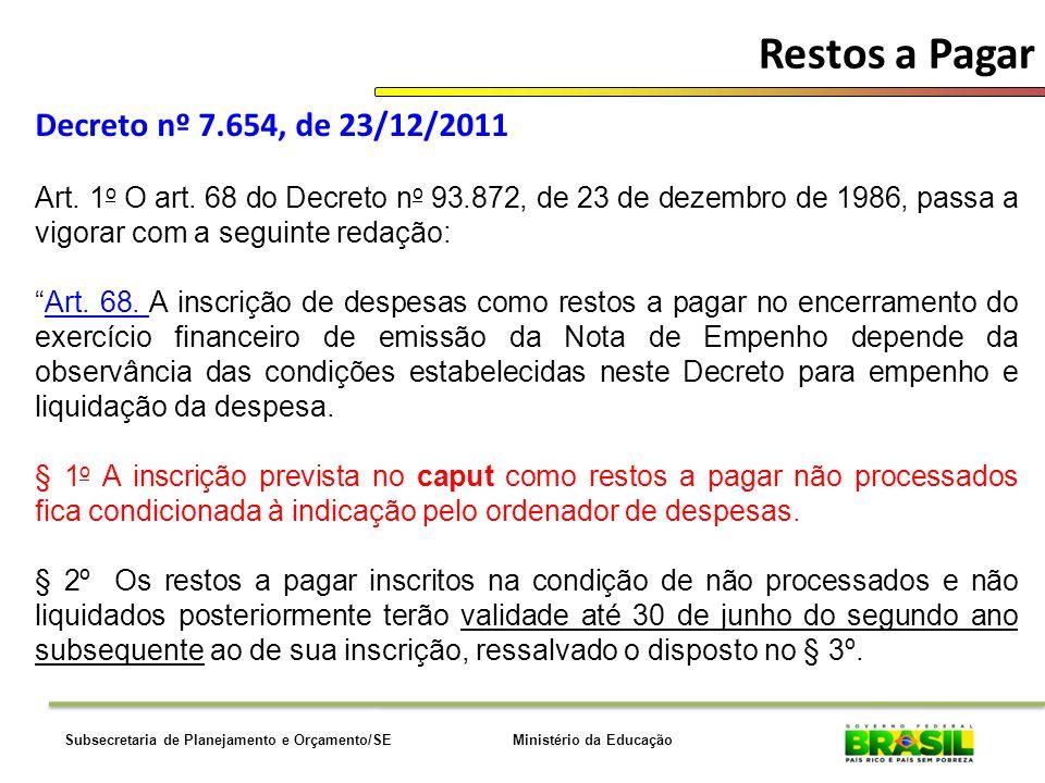 Restos a Pagar Decreto nº 7.654, de 23/12/2011