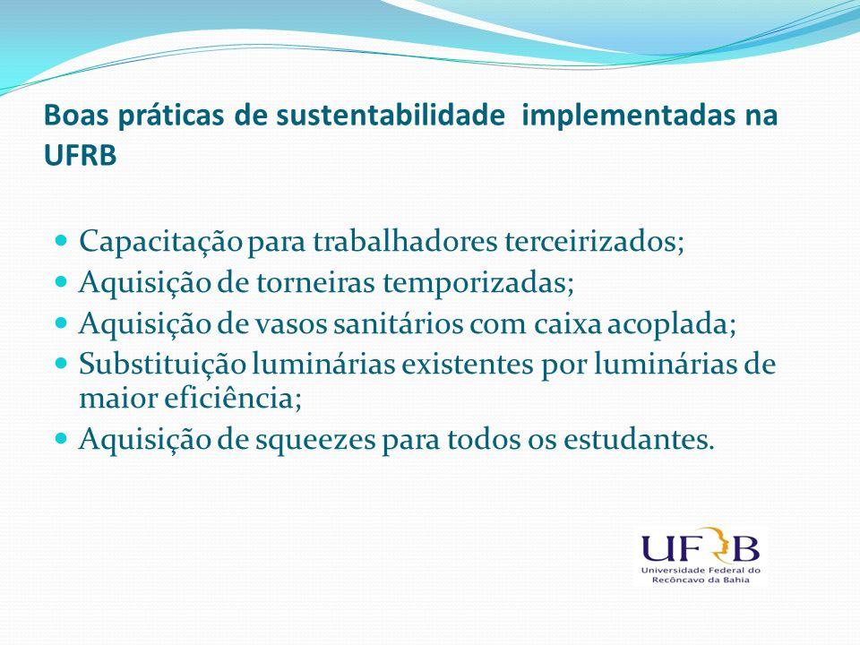 Boas práticas de sustentabilidade implementadas na UFRB