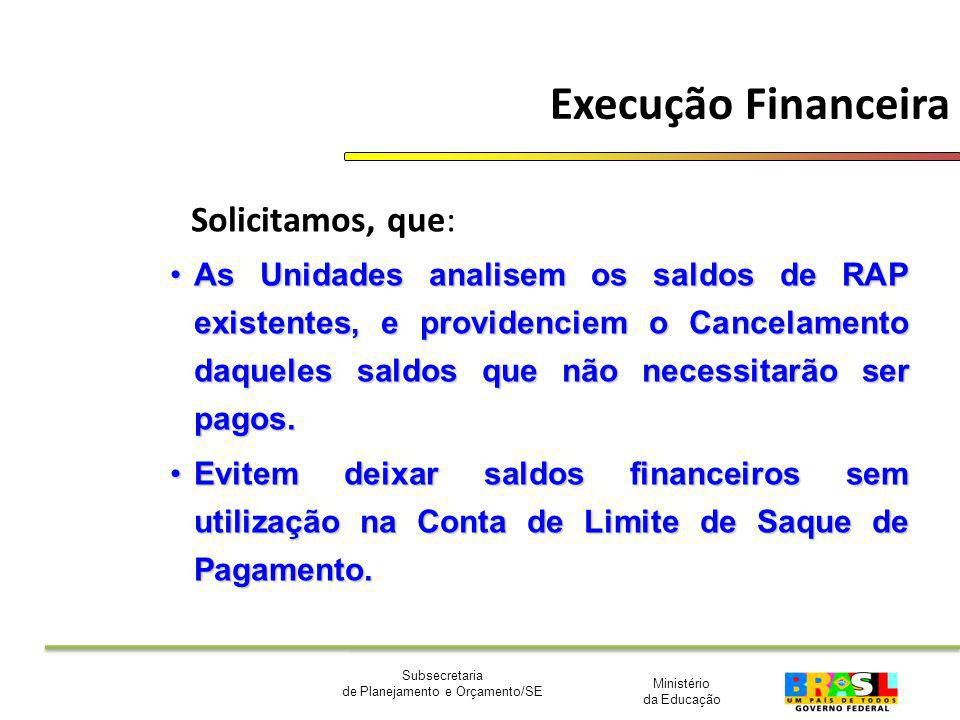 Execução Financeira Solicitamos, que: