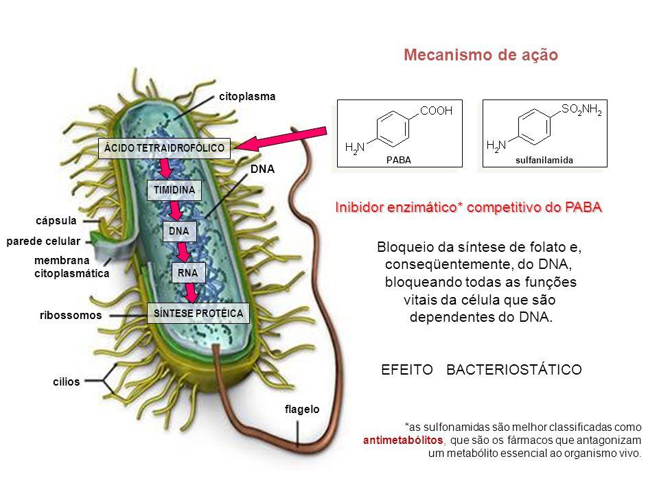 Mecanismo de ação Inibidor enzimático* competitivo do PABA