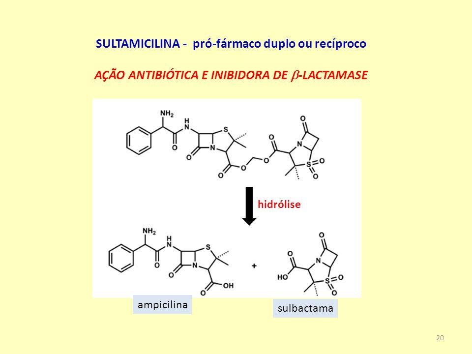 SULTAMICILINA - pró-fármaco duplo ou recíproco