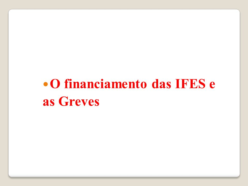 O financiamento das IFES e