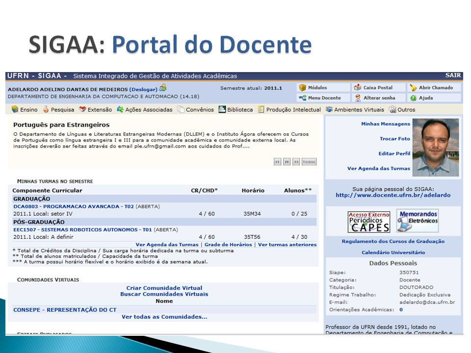 SIGAA: Portal do Docente