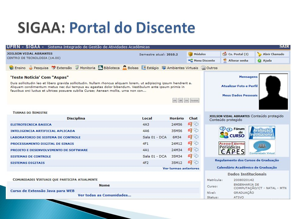 SIGAA: Portal do Discente