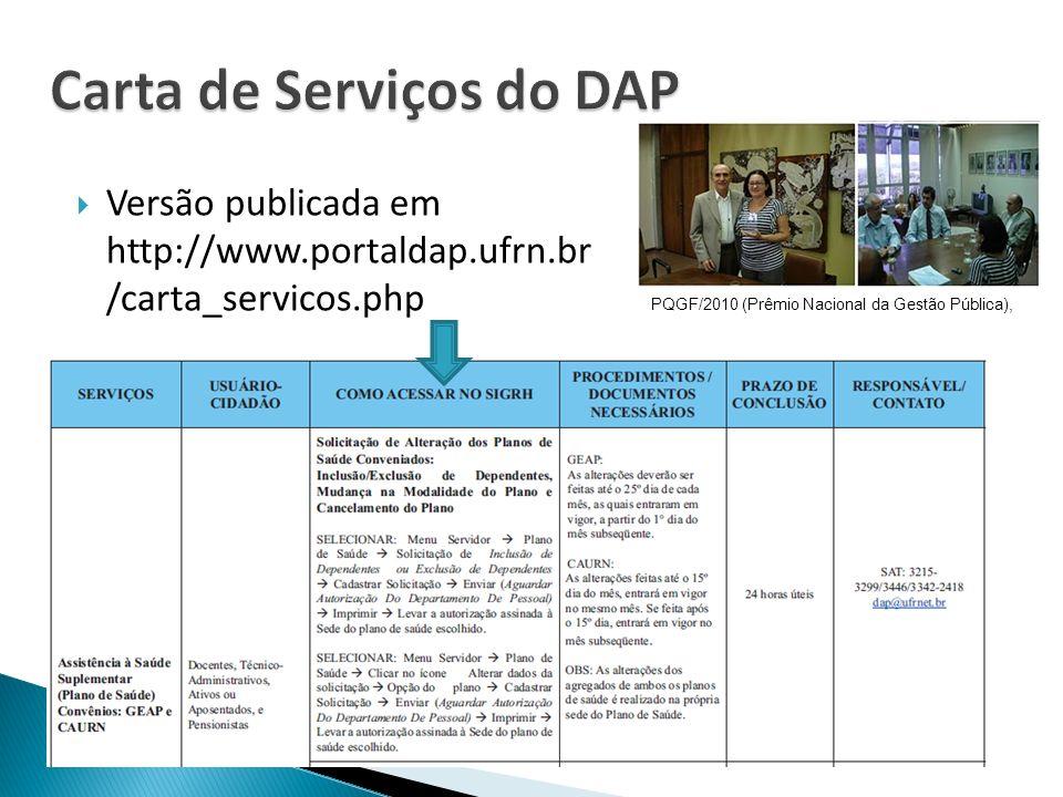 Carta de Serviços do DAP