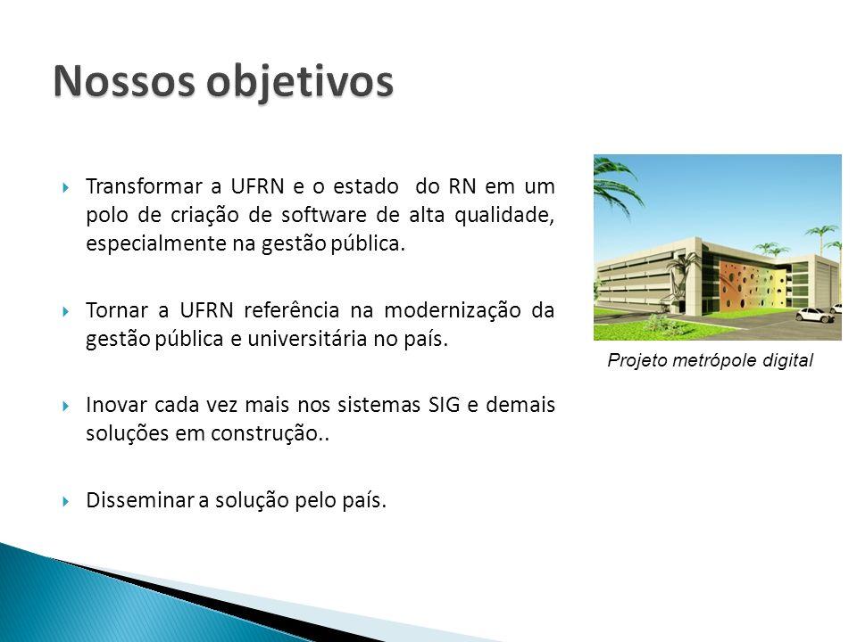 Nossos objetivos Transformar a UFRN e o estado do RN em um polo de criação de software de alta qualidade, especialmente na gestão pública.
