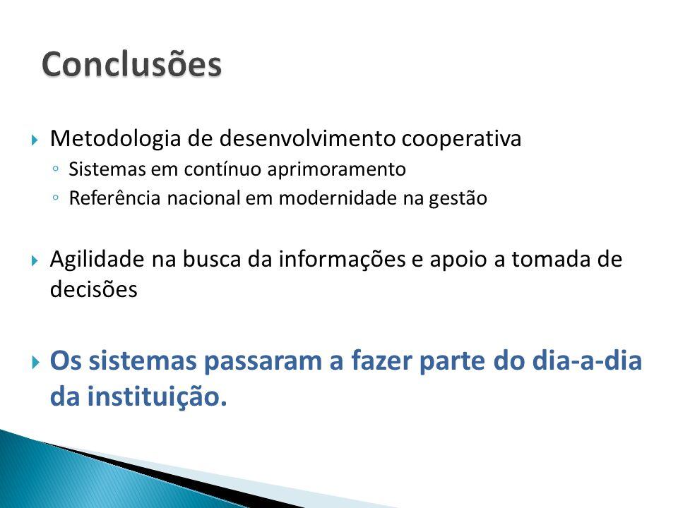 Conclusões Metodologia de desenvolvimento cooperativa. Sistemas em contínuo aprimoramento. Referência nacional em modernidade na gestão.