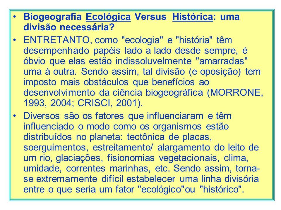 Biogeografia Ecológica Versus Histórica: uma divisão necessária