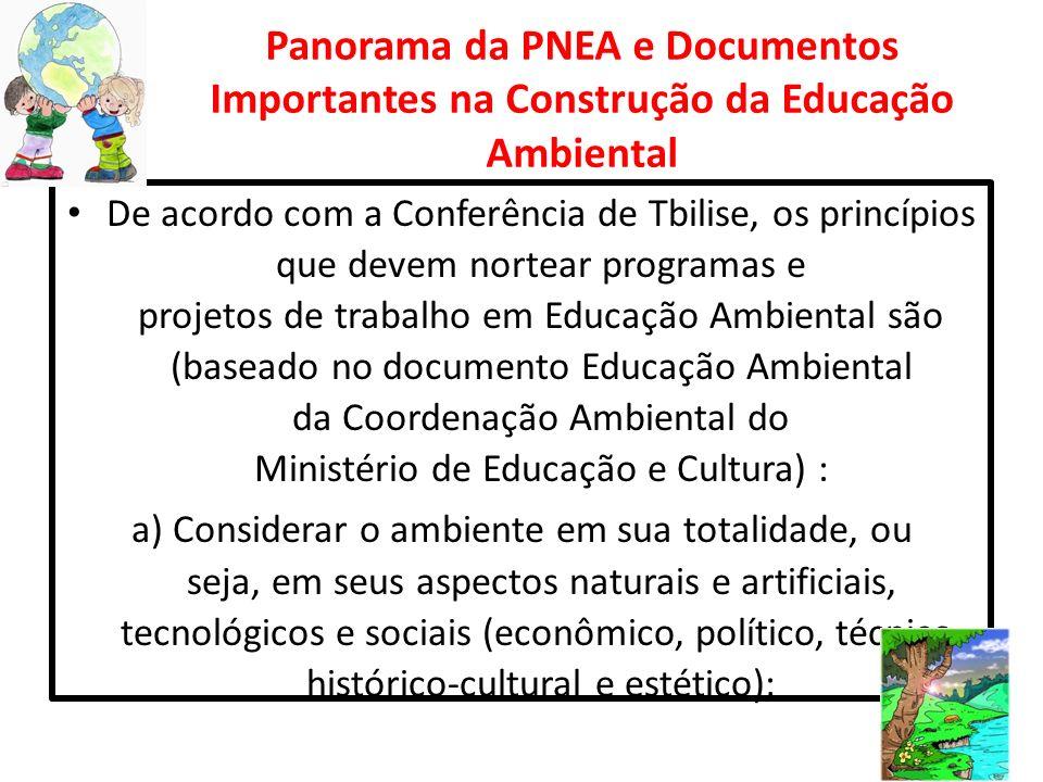 Panorama da PNEA e Documentos Importantes na Construção da Educação Ambiental