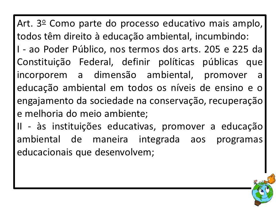 Art. 3o Como parte do processo educativo mais amplo, todos têm direito à educação ambiental, incumbindo: