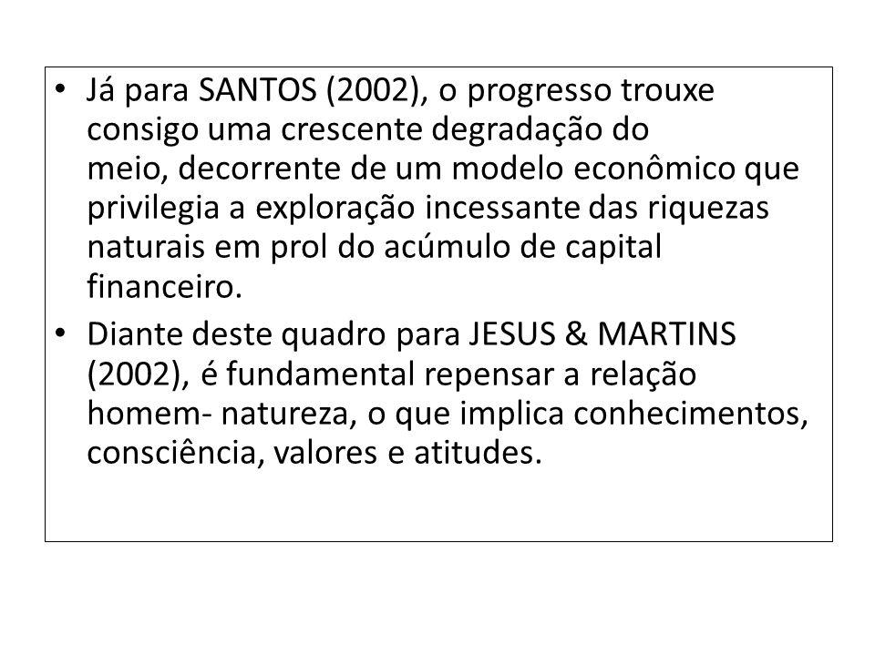 Já para SANTOS (2002), o progresso trouxe consigo uma crescente degradação do meio, decorrente de um modelo econômico que privilegia a exploração incessante das riquezas naturais em prol do acúmulo de capital financeiro.