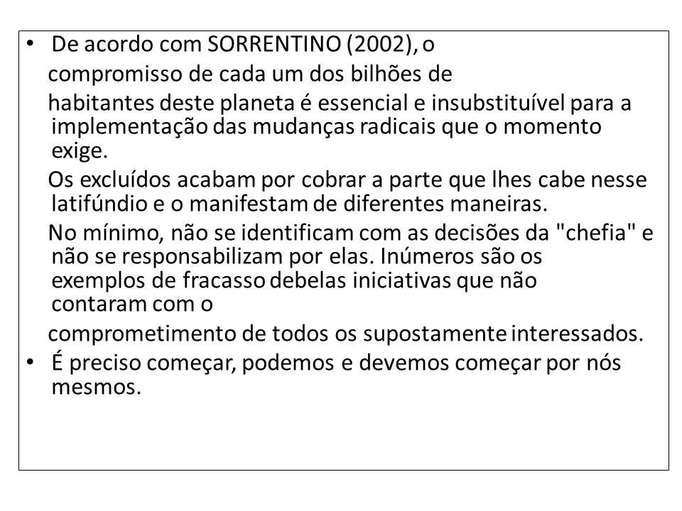 De acordo com SORRENTINO (2002), o