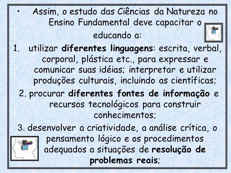 Assim, o estudo das Ciências da Natureza no Ensino Fundamental deve capacitar o
