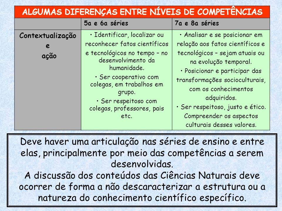 ALGUMAS DIFERENÇAS ENTRE NÍVEIS DE COMPETÊNCIAS