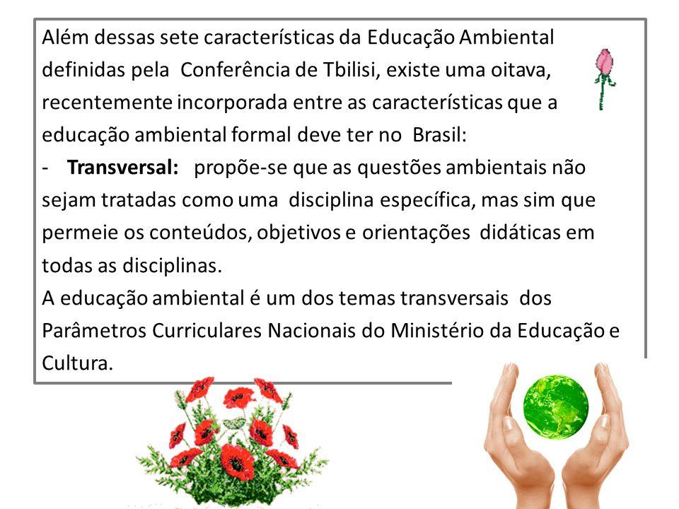 Além dessas sete características da Educação Ambiental