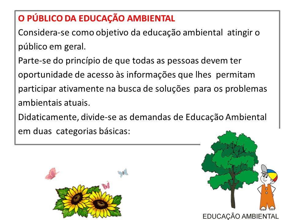 O PÚBLICO DA EDUCAÇÃO AMBIENTAL Considera-se como objetivo da educação ambiental atingir o público em geral.
