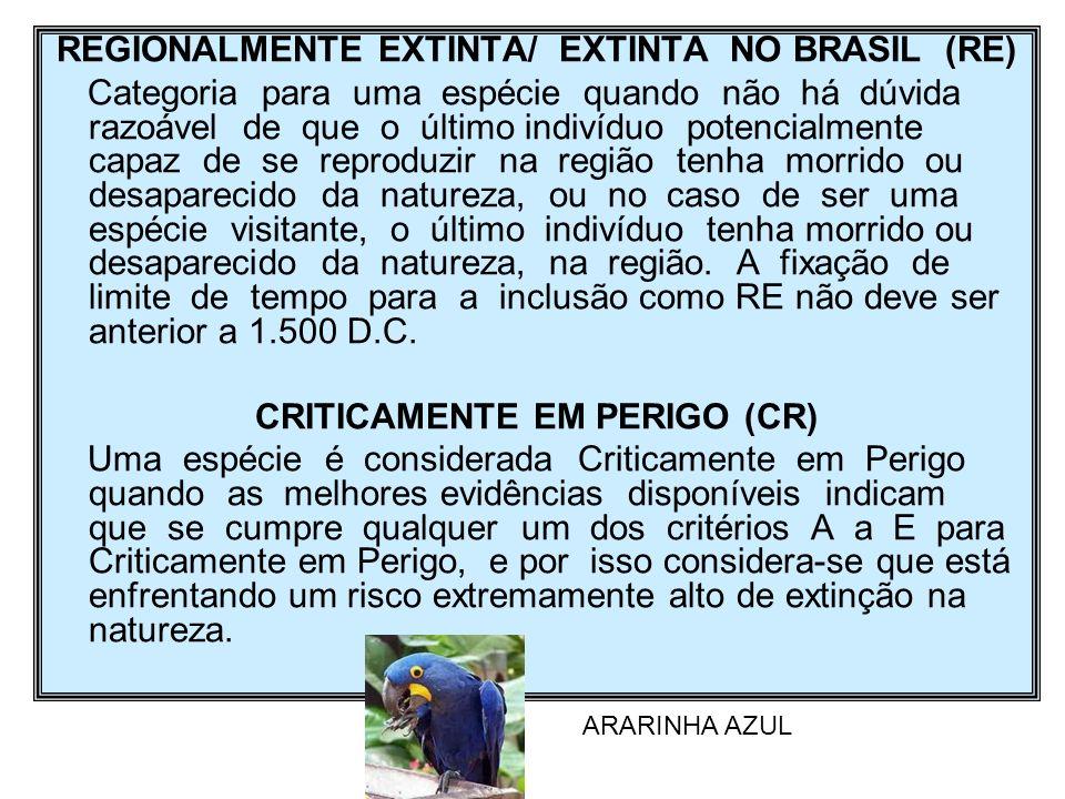 REGIONALMENTE EXTINTA/ EXTINTA NO BRASIL (RE)