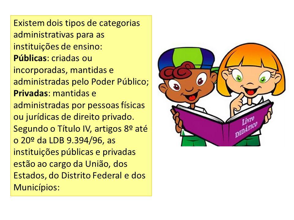 Existem dois tipos de categorias administrativas para as instituições de ensino: