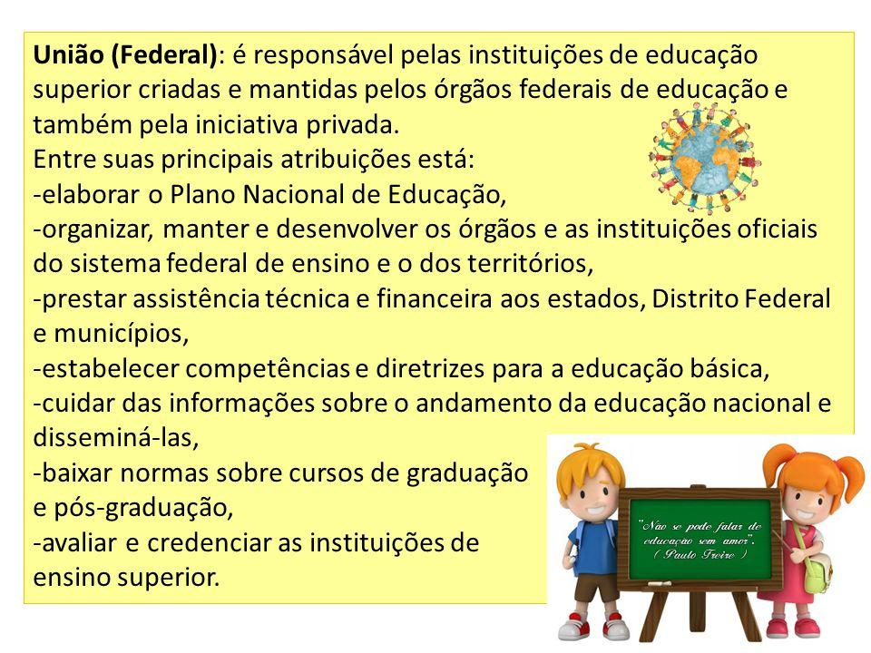 União (Federal): é responsável pelas instituições de educação superior criadas e mantidas pelos órgãos federais de educação e também pela iniciativa privada.