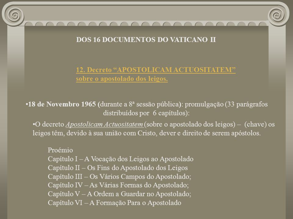 DOS 16 DOCUMENTOS DO VATICANO II
