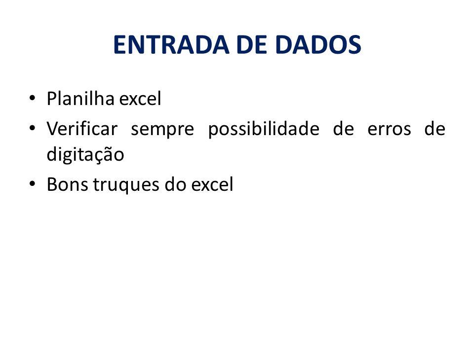 ENTRADA DE DADOS Planilha excel