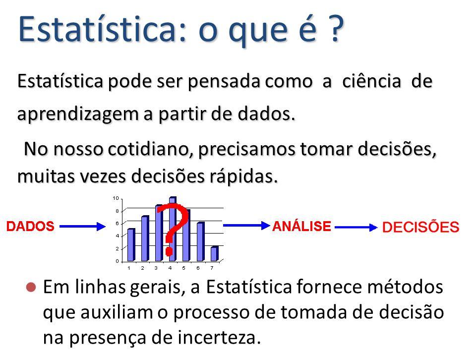 Estatística: o que é Estatística pode ser pensada como a ciência de aprendizagem a partir de dados. No nosso cotidiano, precisamos tomar decisões, muitas vezes decisões rápidas.