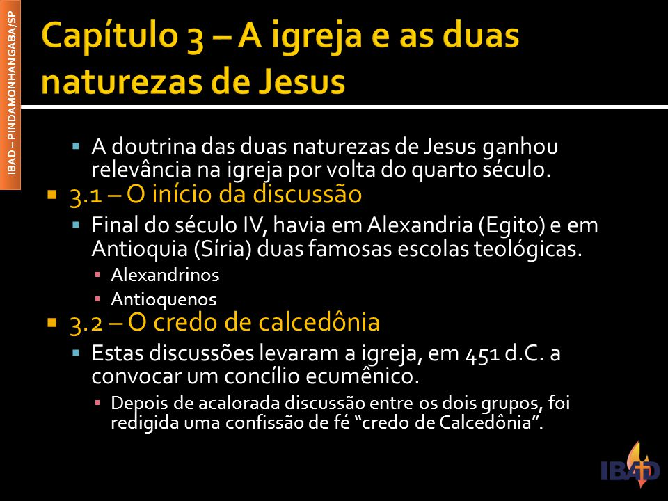 Capítulo 3 – A igreja e as duas naturezas de Jesus