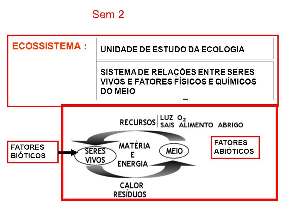 Sem 2 ECOSSISTEMA : = UNIDADE DE ESTUDO DA ECOLOGIA