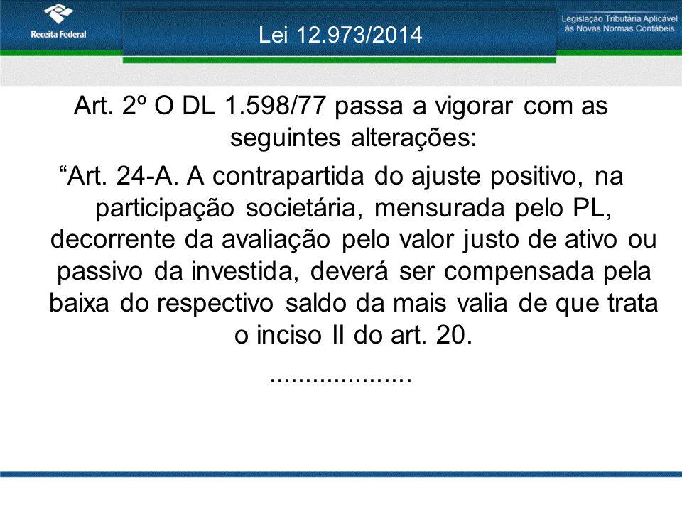 Art. 2º O DL 1.598/77 passa a vigorar com as seguintes alterações: