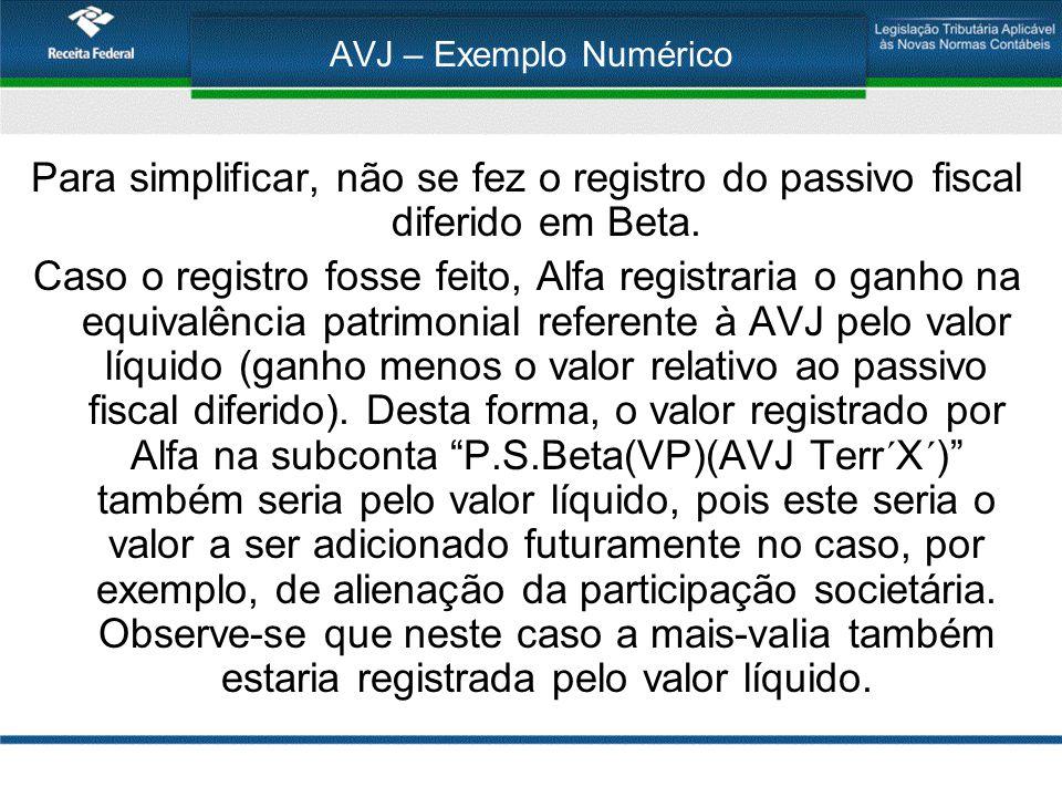 AVJ – Exemplo Numérico Para simplificar, não se fez o registro do passivo fiscal diferido em Beta.