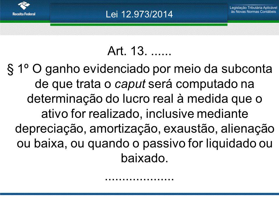 Lei 12.973/2014 Art. 13. ......