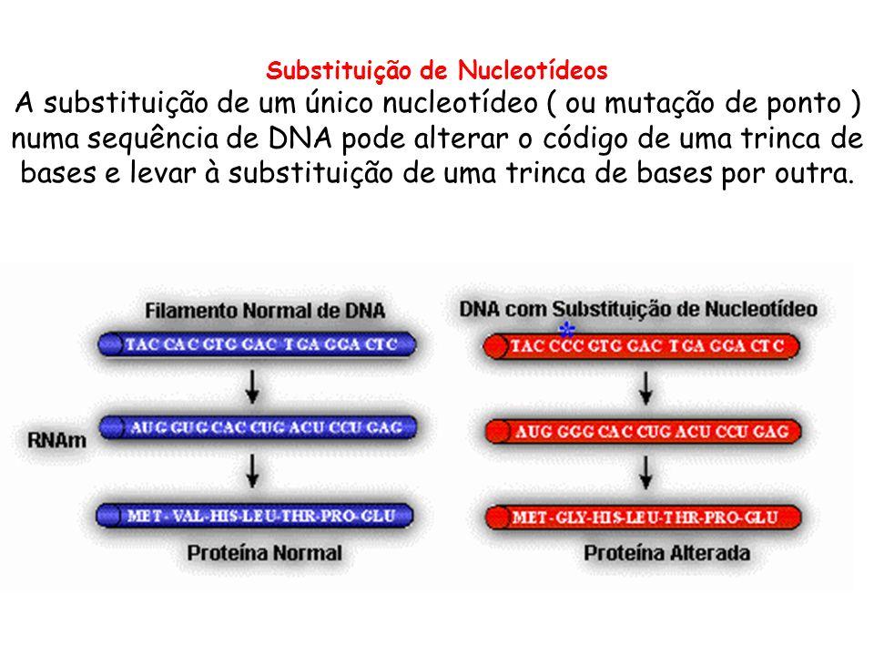 Substituição de Nucleotídeos A substituição de um único nucleotídeo ( ou mutação de ponto ) numa sequência de DNA pode alterar o código de uma trinca de bases e levar à substituição de uma trinca de bases por outra.