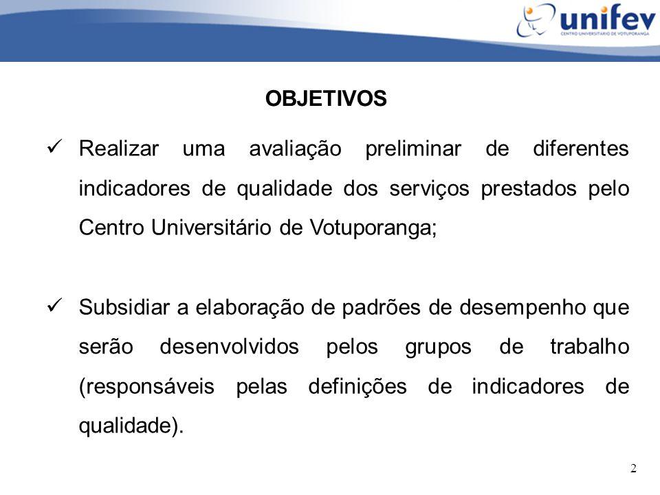 OBJETIVOS Realizar uma avaliação preliminar de diferentes indicadores de qualidade dos serviços prestados pelo Centro Universitário de Votuporanga;