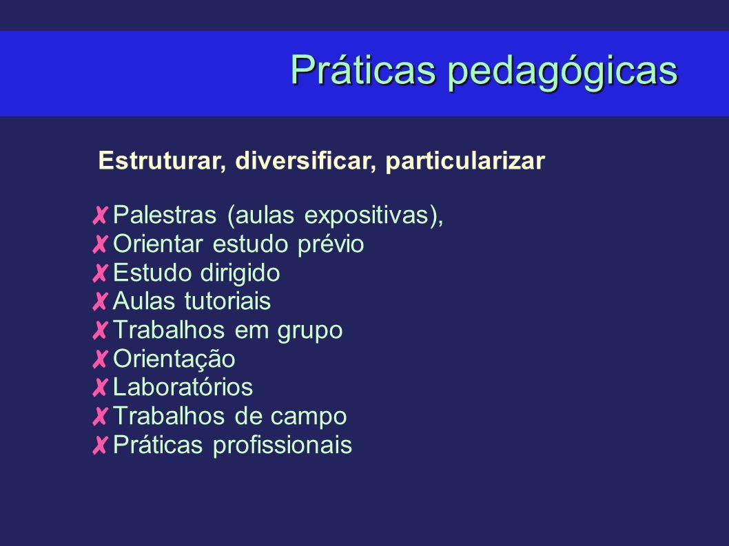 Práticas pedagógicas Estruturar, diversificar, particularizar