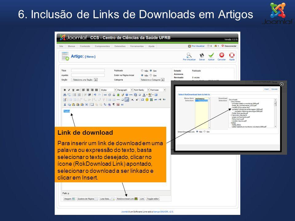 6. Inclusão de Links de Downloads em Artigos