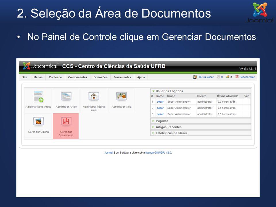 2. Seleção da Área de Documentos
