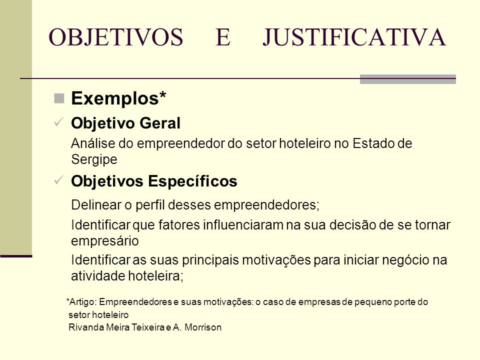 OBJETIVOS E JUSTIFICATIVA