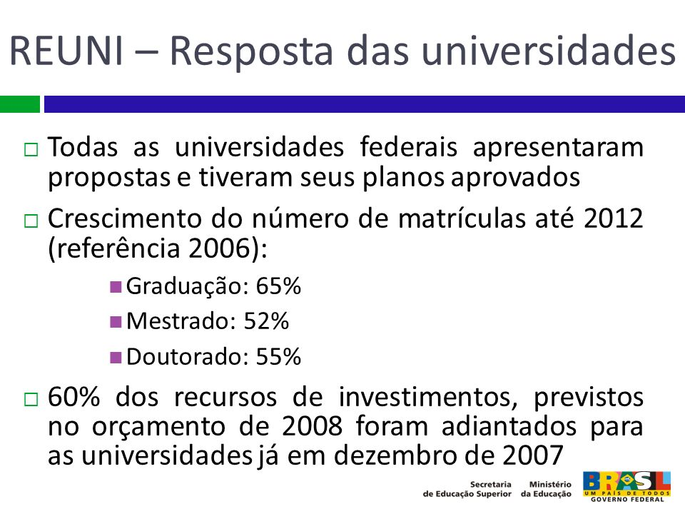 REUNI – Resposta das universidades