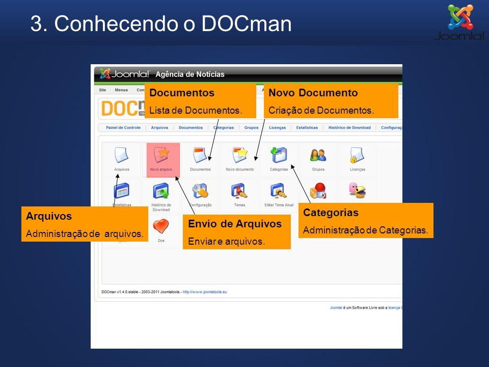 3. Conhecendo o DOCman Documentos Novo Documento Categorias Arquivos