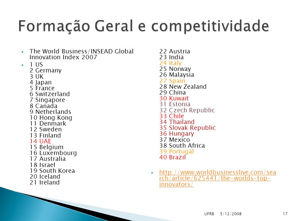 Formação Geral e competitividade