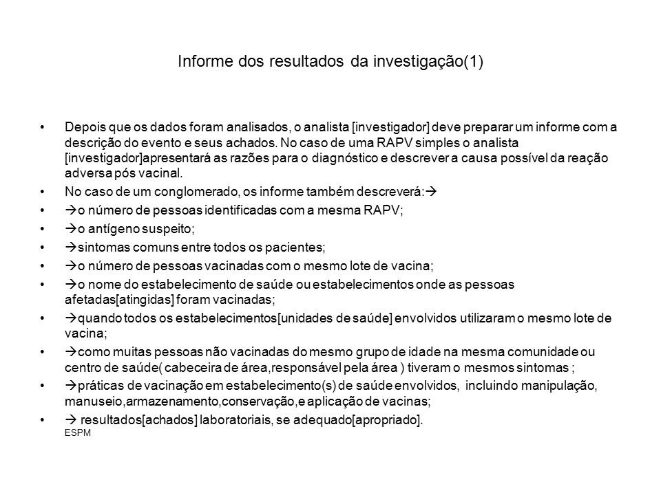 Informe dos resultados da investigação(1)