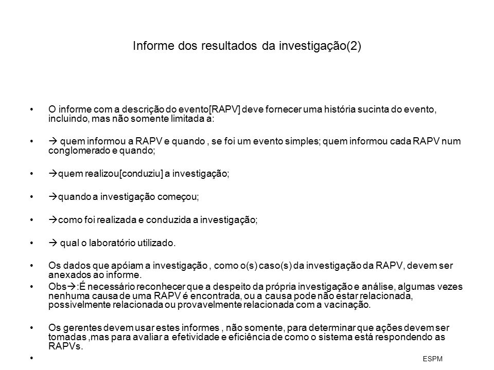 Informe dos resultados da investigação(2)