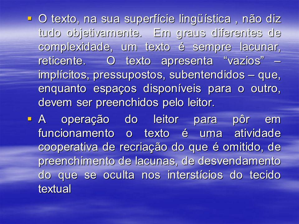O texto, na sua superfície lingüística , não diz tudo objetivamente