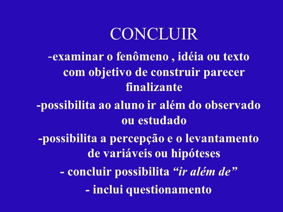 CONCLUIR -examinar o fenômeno , idéia ou texto com objetivo de construir parecer finalizante. -possibilita ao aluno ir além do observado ou estudado.