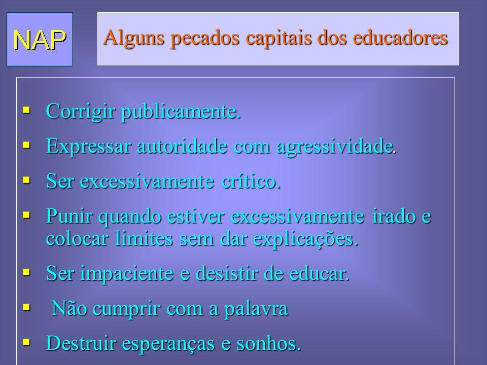 Alguns pecados capitais dos educadores