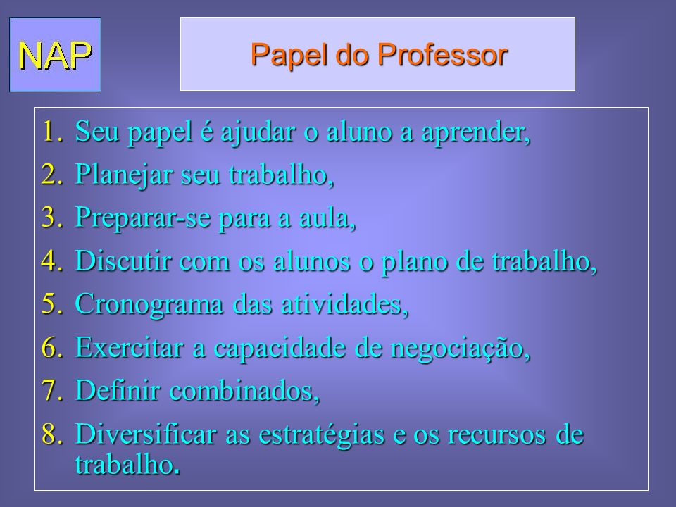 Papel do Professor Seu papel é ajudar o aluno a aprender, Planejar seu trabalho, Preparar-se para a aula,